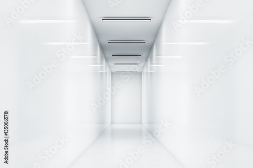 Long office corridor with white walls. Very bright light. Lamps reflecting in the walls. Concept of a successful company. 3d rendering. Mock up