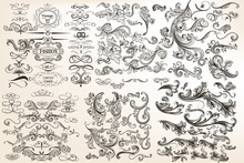 Big Collection Or Set Of Vector Vintage Flourishes For Design In