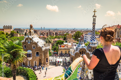 Foto op Canvas Barcelona The famous park Guell in Barcelona, Spain