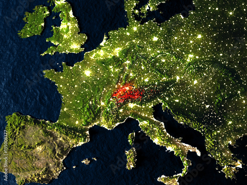 Switzerland in red from space at night Billede på lærred