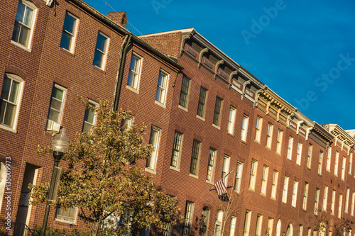 OCTOBER 28, 2016 - Row houses on Bolton Street, Bolton Hill, Baltimore, Maryland Canvas Print