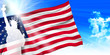 アメリカ 自由の女神  国旗 背景