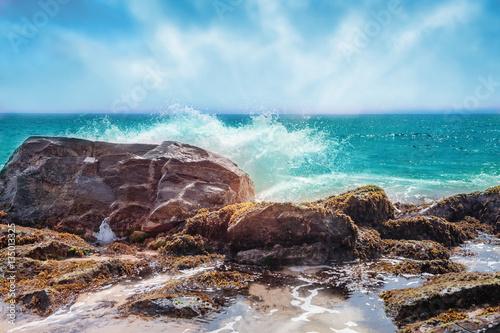 Poster Cappuccino Beautiful seashore with big stones