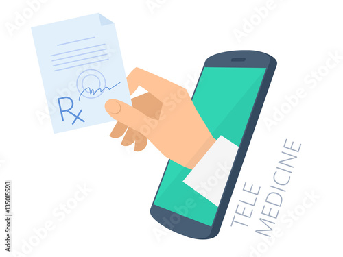 Fotografia  Doctor's hand holding rx through the phone screen giving the prescription to patient