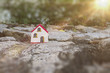 Miniature wooden house on the stone
