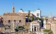 View of the Tabularium, the Arch of Septimius Severus and Altare della Patria from the Palatine hill, Rome, Italy.