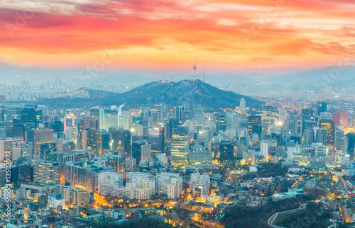 Zdjęcie XXL Zobacz najpiękniejsze w Seulu i wieżę Seulu w Korei Południowej.