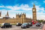 Fototapeta Londyn - Big Ben, Westminster Bridge, red bus in London