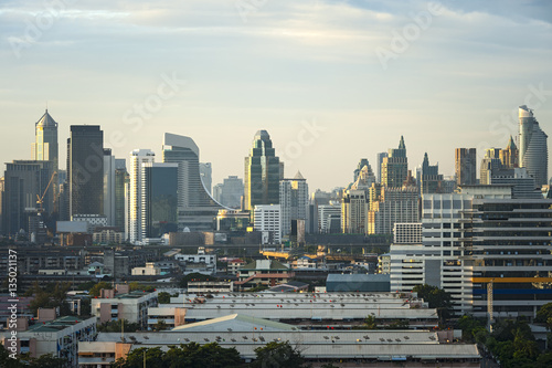 Bangkok Cityscape, Business center with high building at sunrise, Bangkok, Thail Fototapet