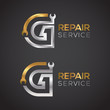Letter G with wrench logo Gold and Silver color,Industrial,repair,tools,service and maintenance logo for corporate identity