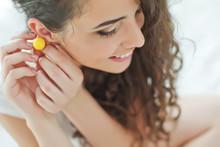 Woman Wearing Jewelry Earrings