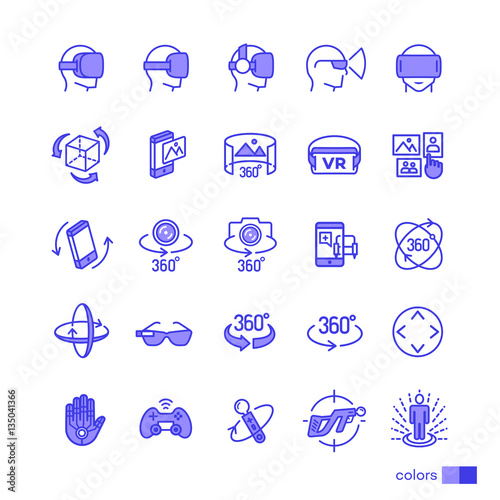 Set of virtual reality icons color style