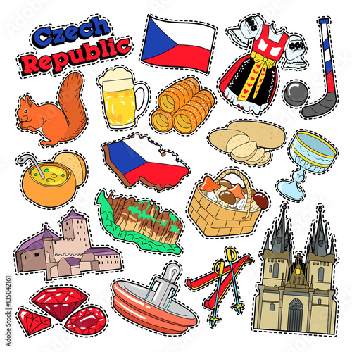 Photo  Czech Republic Travel Elements with Architecture and Traditional Food