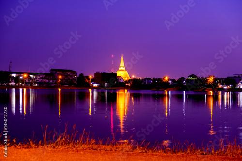 Spoed Fotobehang Oranje eclat Phra Pathom Chedi Sanctuary is a vital part of Thailand