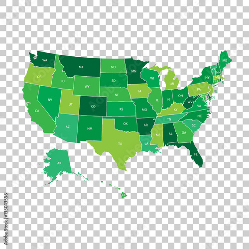 High detailed USA map with federal states Canvas Print