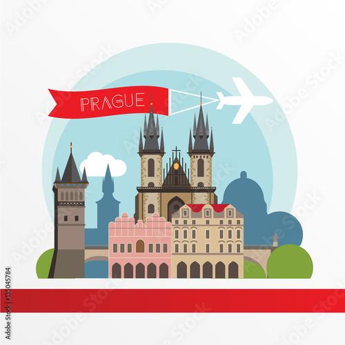 Poster Castle Prague detailed silhouette. Trendy stylish colorful landmarks.