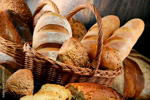 Tuinposter Bakkerij Composition with variety of baking products on wooden table