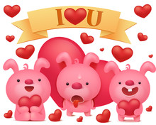 Set Of Pink Bunny Emoji Characters With Red Hearts