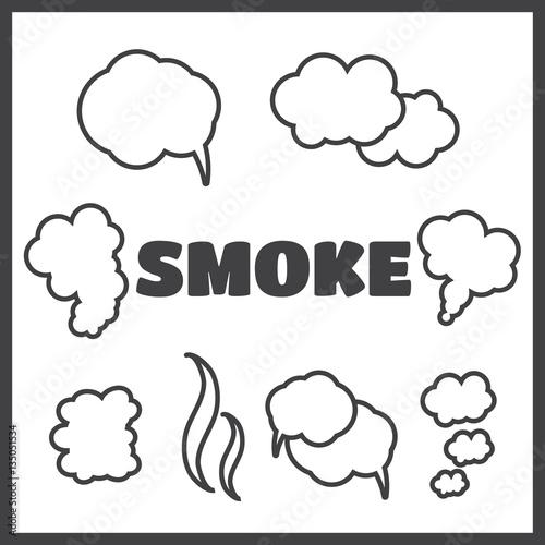 Fototapeta Steam, cloud and smoke vector icons set obraz na płótnie
