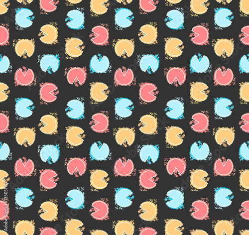 Fotografie, Obraz  Retro seamless pattern with multi color circles in vector on dark isolated background