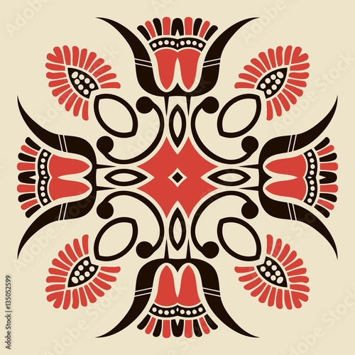 Fotografija  symmetrical abstract ethnic floral pattern folk painted black and red color