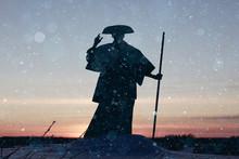 Monk Warrior Snow Landscape