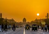 Sunset nearby the Presidential Residence, Rashtrapati Bhavan, New Delhi, India.