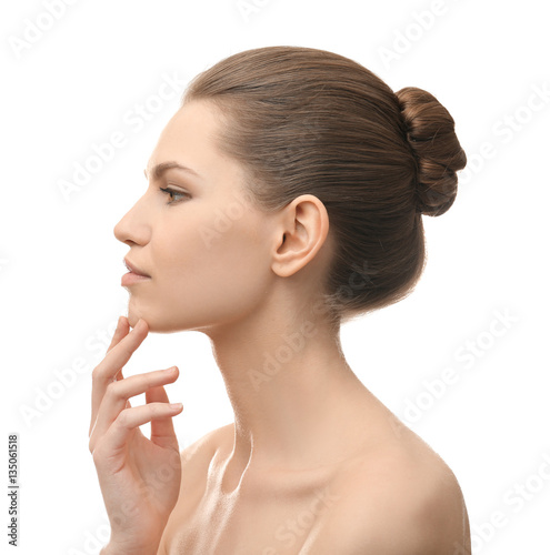 Fototapety, obrazy: Young beautiful woman on white background. Plastic surgery concept