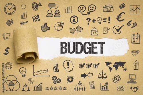 Fotografía  Budget / Papier mit Symbole