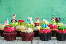 Christmas Of Cupcake On The Wooden.