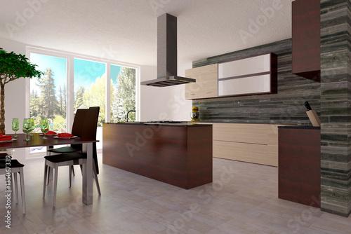 Helle Moderne Küche Mit Kochinsel Und Sitzeck