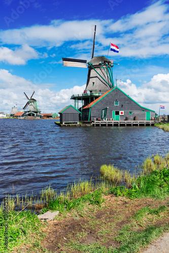 Photo  traditional Dutch windmill of Zaanse Schans, Holland