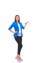 Portrait Of Young Business Woman Pointing Something