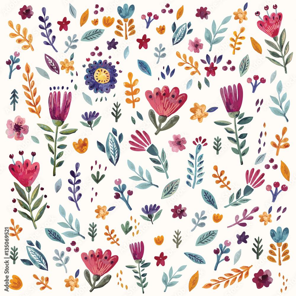 Kwiatowy wzór z akwarela kwiaty i liście