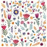 Kwiatowy wzór z akwarela kwiaty i liście - 135069521