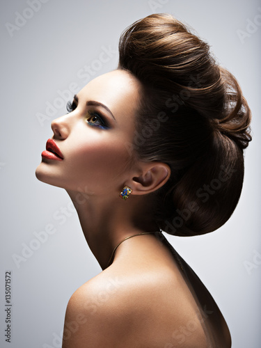 Door stickers Hair Salon Beautiful woman with style hairstyle