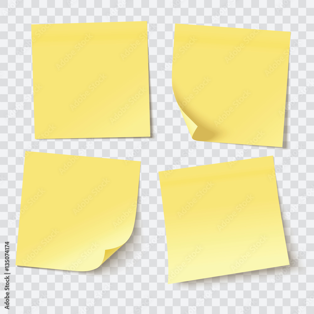 Fototapety, obrazy: yellow sticky notes, vector illustration