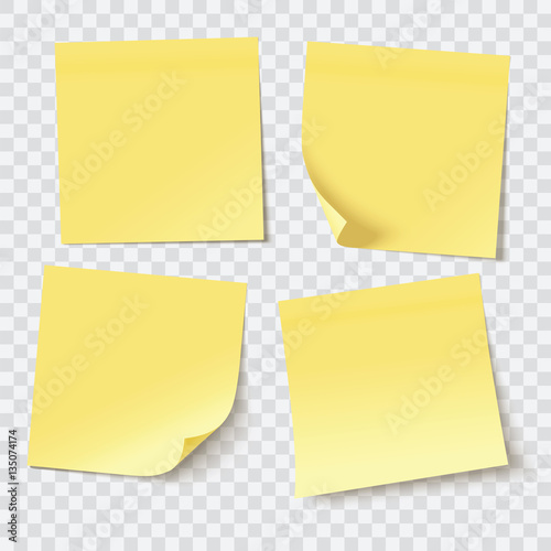 Fotografía yellow sticky notes, vector illustration