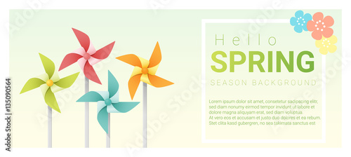 Hello spring background with colorful pinwheels , vector , illustration Canvas-taulu