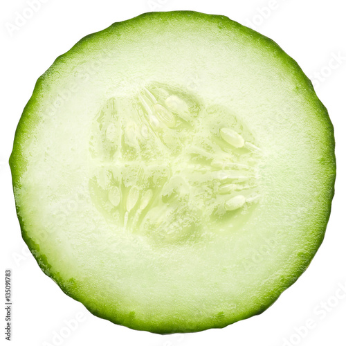 Poster Légumes frais fresh juicy slice cucumber on a white background, isolated