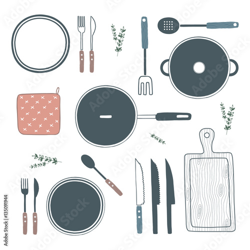 Fotografía  Hand drawn cooking utensils