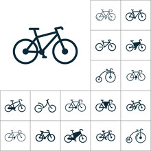 Bicycle Icon, Bike Set On Whit...
