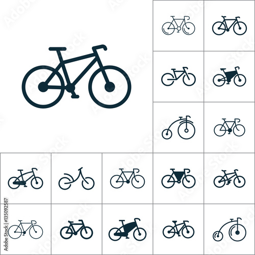 bicycle icon, bike set on white background Fototapete