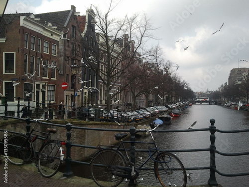 Fototapety, obrazy: Canal View Amsterdam Spring Winter
