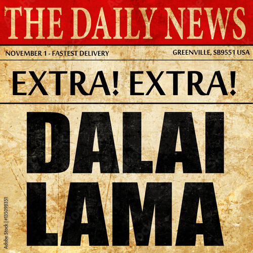 Slika na platnu the Dalai lama, newspaper article text