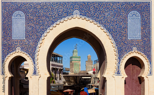 Photo Stands Morocco Bab Bou Jeloud gate (or Blue Gate) in Fez el Bali medina, Morocco