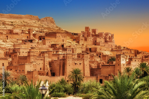 Photo Stands Morocco Kasbah Ait Ben Haddou in the Atlas mountains of Morocco. UNESCO World Heritage Site