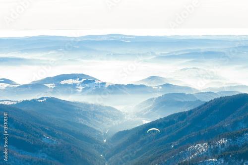 Fotografie, Obraz  Beautiful valley with gentle haze above it