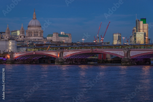 Blackfriers Bridge with St Paul Cathedral and river Thames in London Canvas Print