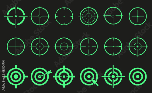 Fotomural  Target set icons sight sniper symbol isolated, crosshair and aim vector illustra